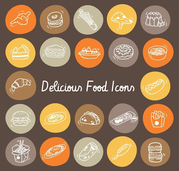 Ensemble d'icône de doodle alimentaire