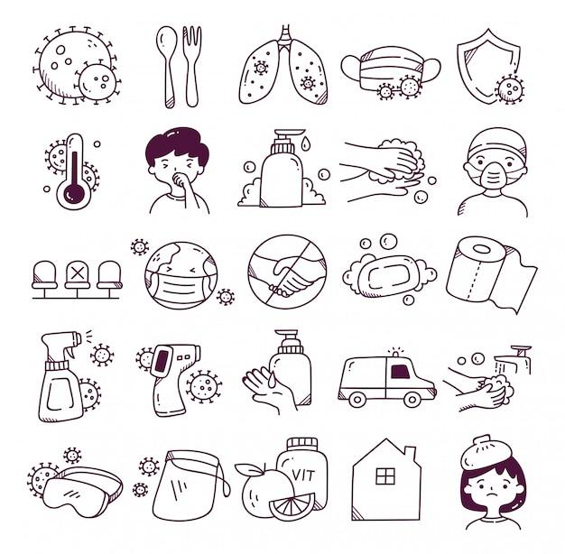 Ensemble d'icône de doodle de virus corona