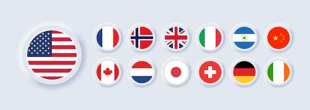 Ensemble d'icône de drapeau