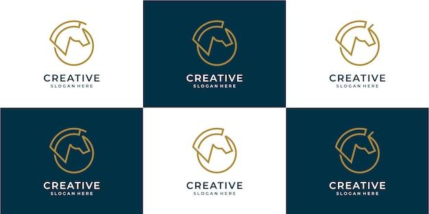 Ensemble d'icône du logo animal cheval