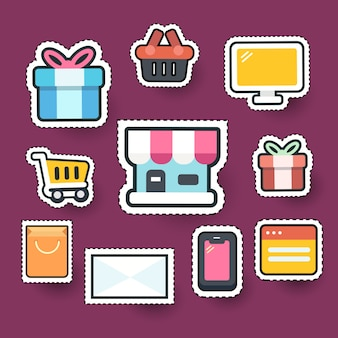 Ensemble d'icône d'élément achats en ligne