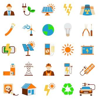 Ensemble d'icône d'énergie solaire isolé