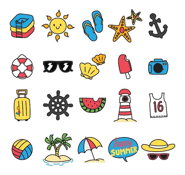 Ensemble d'icône de l'été dans le style de doodle