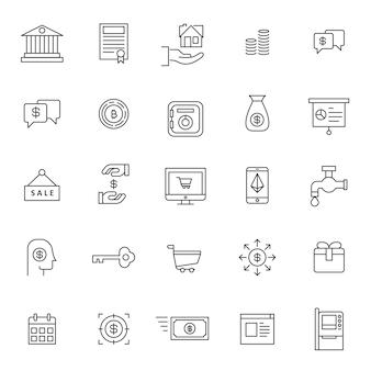 Ensemble d'icône financière entreprise