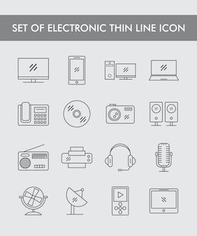 Ensemble d'icône de fine ligne électronique