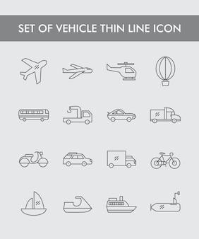 Ensemble d'icône de fine ligne de véhicule