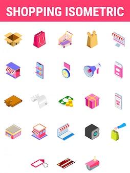 Ensemble d'icône isométrique de shopping.
