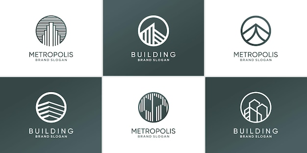 Ensemble d'icône de logo de bâtiment moderne abstrait vecteur premium