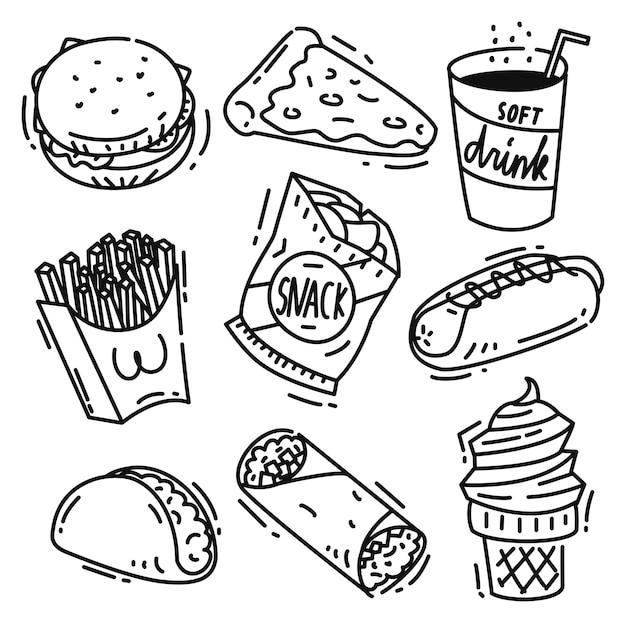 Ensemble d'icône de la malbouffe doodle isolé sur fond blanc