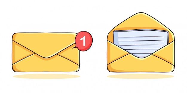 Ensemble d'icône de message dessiné à la main