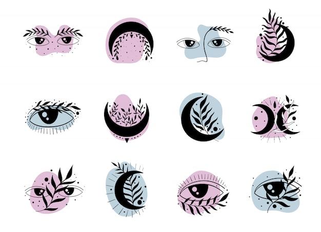 Ensemble d'icône nature élégante. lune, yeux et lune