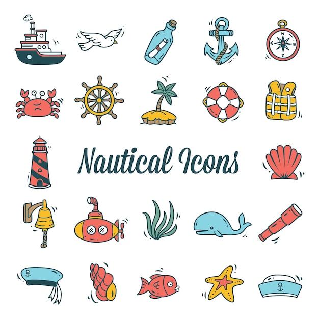 Ensemble d'icône nautique isolé sur fond blanc