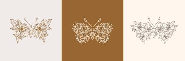 Ensemble d'icône de papillon floral dans un style branché minimaliste linéaire. contour vectoriel emblème des ailes avec des fleurs