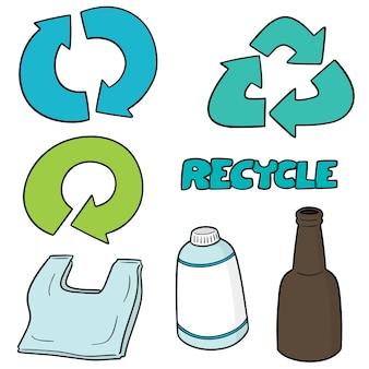 Ensemble d'icône de recyclage
