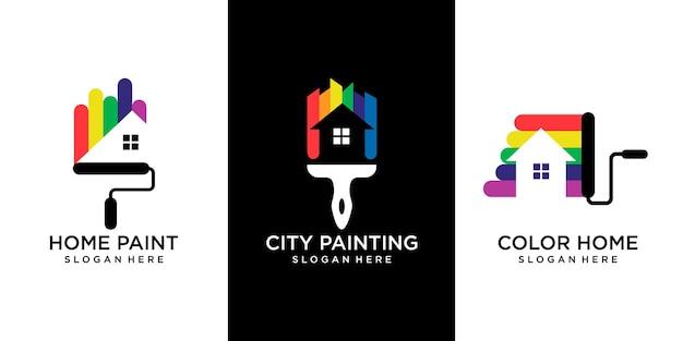 Ensemble d'icône de rénovation de maison et de ville, icône de services de peinture, modèle vectoriel en couleur