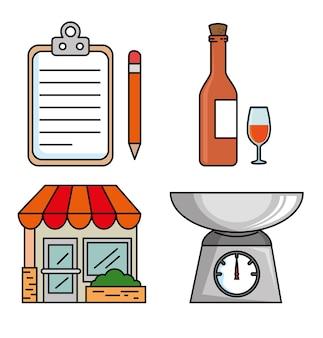 Ensemble d'icône de restaurant
