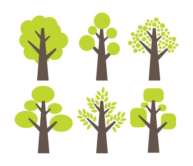 Ensemble d'icône simple arbre