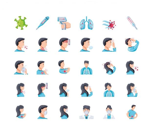 Ensemble d'icône sur les symptômes du virus corona