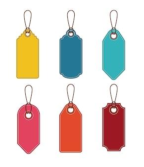 Ensemble d'icône de tags suspendus. rabais sur l'offre de prix et conception du marché. design isolé et coloré. vect