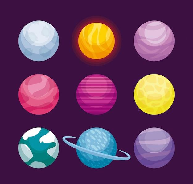 Ensemble d'icône d'univers d'espace planètes