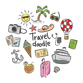 Ensemble d'icône de voyage dans le style de doodle