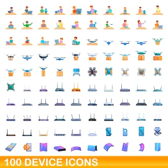 Ensemble d'icônes de 100 appareils. bande dessinée illustration de 100 icônes de périphérique set vector isolé sur fond blanc