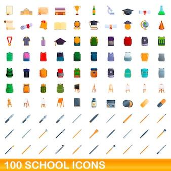 Ensemble d'icônes de 100 écoles. bande dessinée illustration de 100 icônes de l'école ensemble de vecteurs isolé sur fond blanc