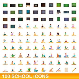 Ensemble d'icônes de 100 écoles. bande dessinée illustration de 100 icônes de l'école mis isolé