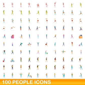 Ensemble d'icônes de 100 personnes. bande dessinée illustration de 100 personnes icônes vectorielles ensemble isolé sur fond blanc
