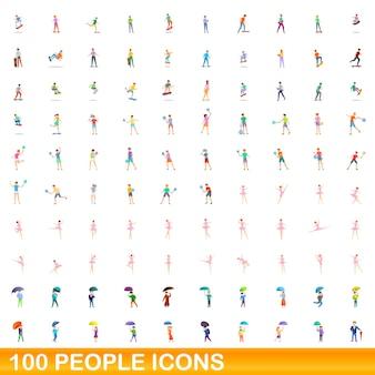 Ensemble d'icônes de 100 personnes. bande dessinée illustration de 100 personnes icons set isolé