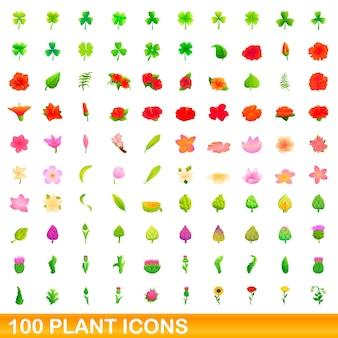 Ensemble d'icônes de 100 plantes. bande dessinée illustration de 100 icônes de plantes isolées