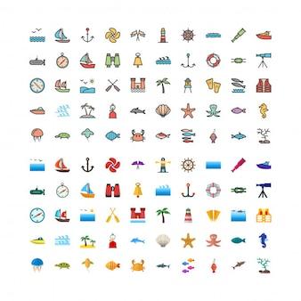 Ensemble d'icônes 100 seafilled et flat