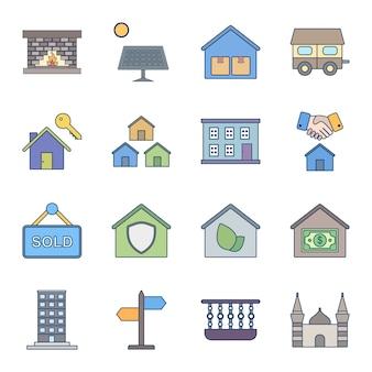 Ensemble d'icônes de 16 biens immobiliers à usage personnel et commercial