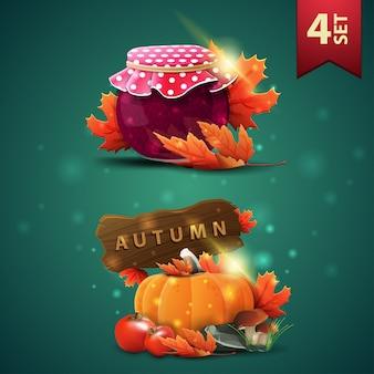 Ensemble d'icônes 3d automnes, pot de confiture, feuilles d'érable, récolte de légumes et un panneau en bois