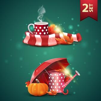 Ensemble d'icônes 3d automnes, tasse de thé chaud, écharpe chaude, arrosoir de jardin, parapluie et citrouille mûre