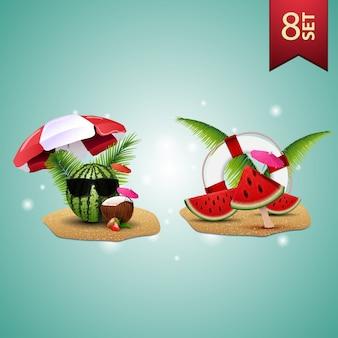 Ensemble d'icônes 3d de l'été