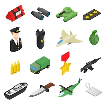 Ensemble d'icônes 3d isométrique d'arme