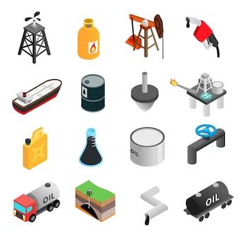Ensemble d'icônes 3d isométrique de l'industrie pétrolière