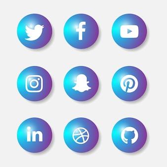 Ensemble d'icônes 3d de médias sociaux