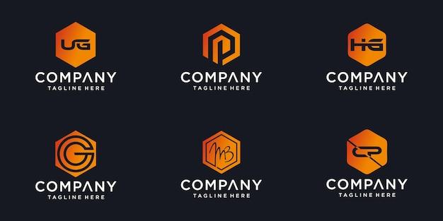 Ensemble d'icônes abstraites de formes à la mode minimalistes pour le modèle de conception de logo d'icône de lettre