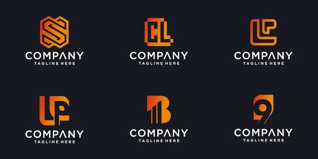 Ensemble d'icônes abstraites formes à la mode minimalistes pour le modèle de conception de logo d'icône de lettre