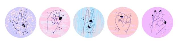 Ensemble d'icônes abstraites de médias sociaux avec différents gestes et mains sur isolé