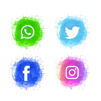 Ensemble d'icônes abstraites médias sociaux