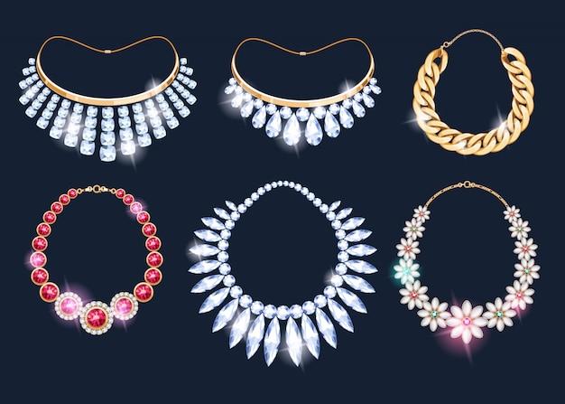 Ensemble d'icônes d'accessoires bijoux colliers réalistes.