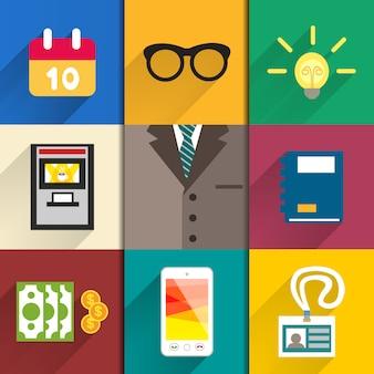 Ensemble d'icônes d'accessoires de bureau