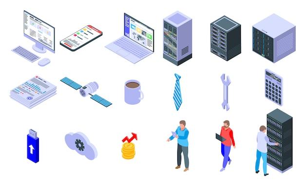 Ensemble d'icônes administrateur informatique, style isométrique