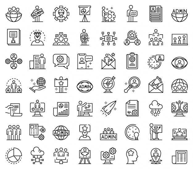 Ensemble d'icônes administrateur informatique