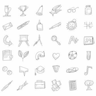 Ensemble d'icônes d'affaires dessinés à la main