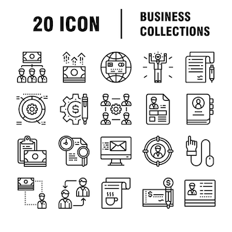 Ensemble d'icônes d'affaires. icônes pour les affaires, la gestion, les finances, la stratégie, le marketing.