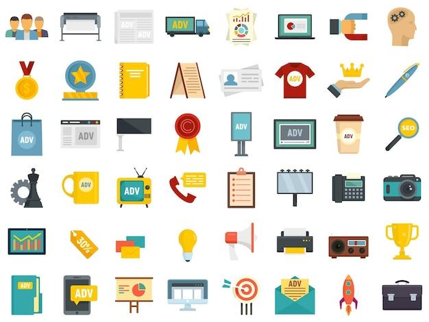 Ensemble d'icônes d'agence de publicité. ensemble plat d'icônes vectorielles d'agence de publicité isolé sur fond blanc